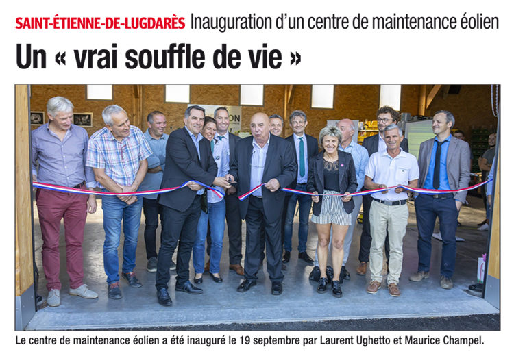 Inauguration d'un centre de maintenance éolien en Ardèche